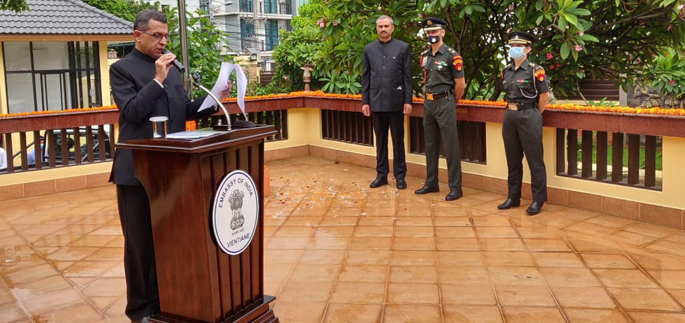 H.E. Mr Dinkar Asthana, Ambassador of India to Lao PDR, reading out the President speech on the occasion of the 74th Independence Day of India