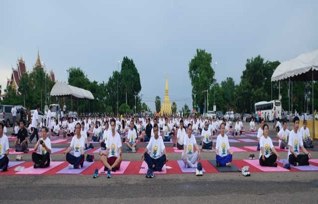 5th International Day of Yoga 2019 celebrations by Embassy of India, Vientiane on 15 June 2019 in front of That Luang Buddhist Stupa, Vientiane Capital